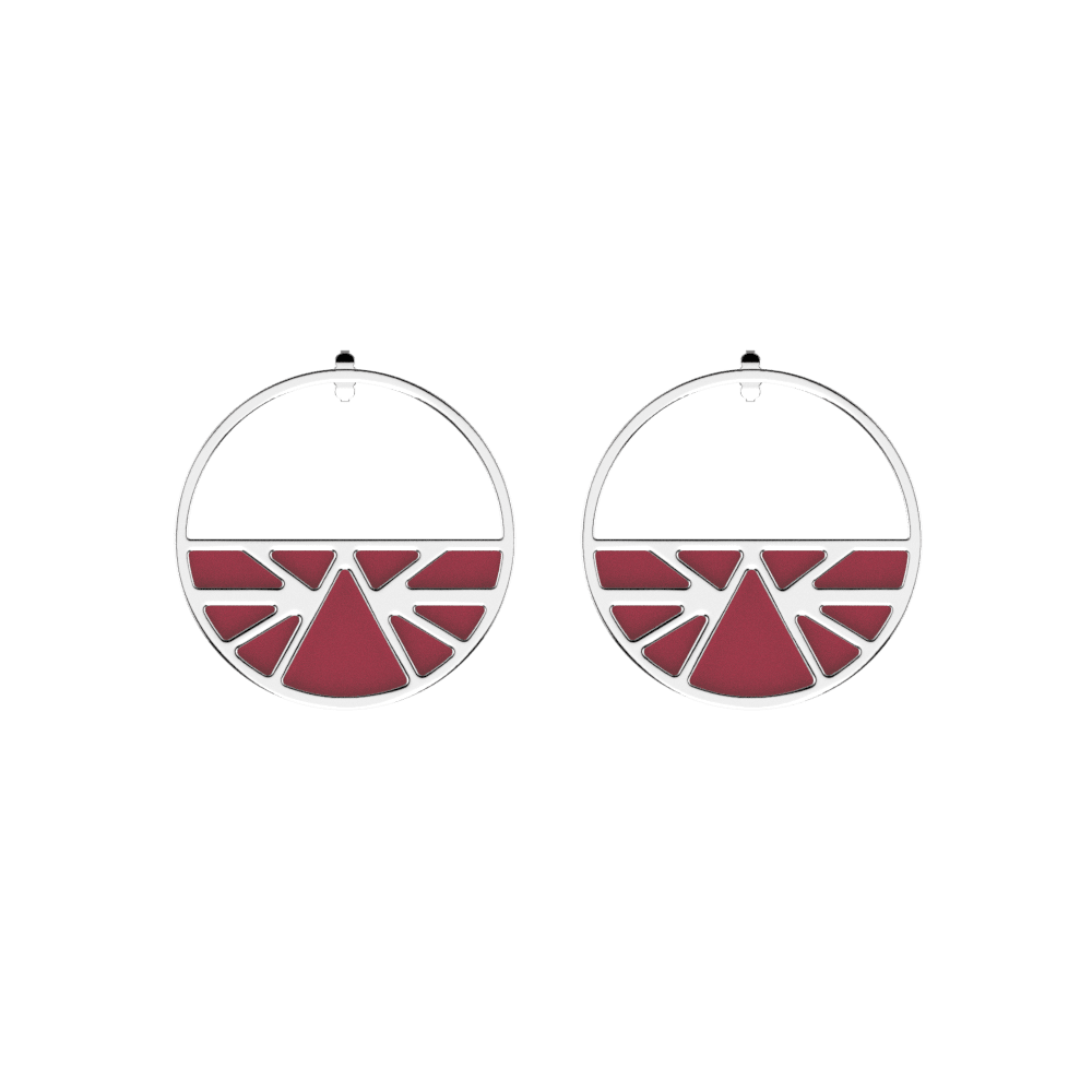 Ibiza Hoop Earrings, Silver finish, Petrol blue / Raspberry image number 2