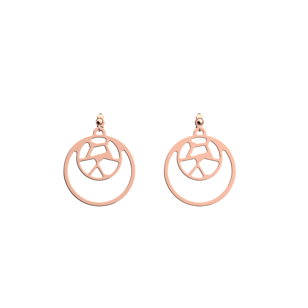 Girafe Double Round 16mm Earrings, Rose gold finish image number 1