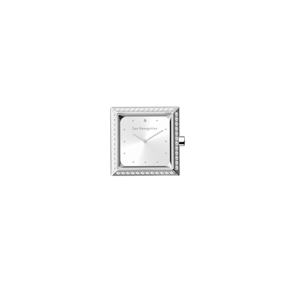 Watch case Absolue square Précieuse, Silver finish image number 1