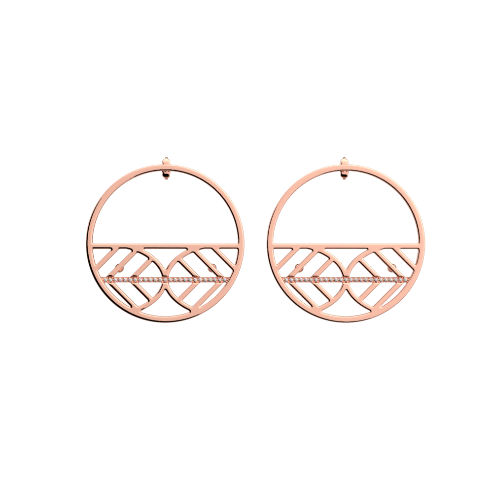 Faucon Hoop 43 mm Earrings, Rose gold finish image number 1