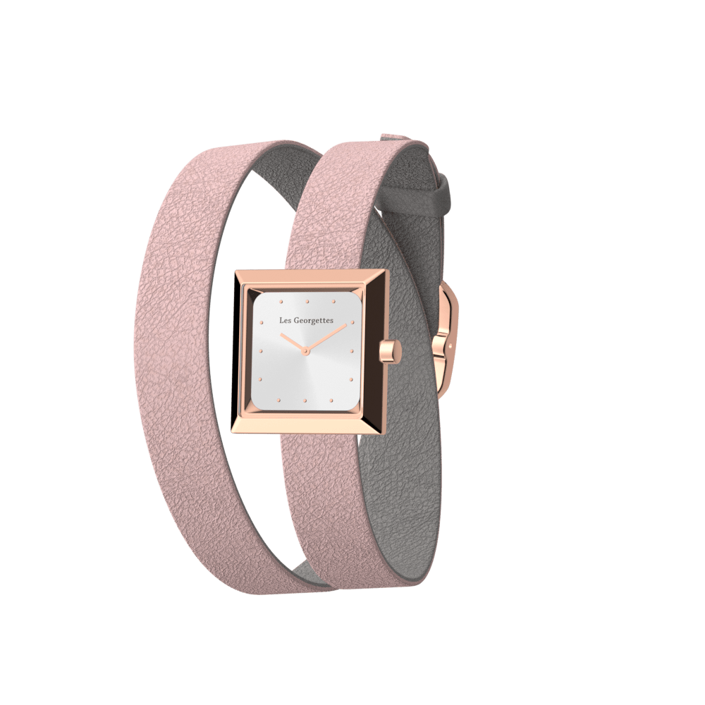 Light Pink / Light Grey Wraparound Watch, Rose Gold finishes image number 1