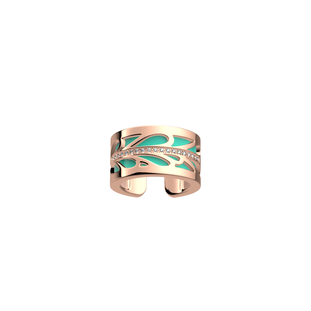 Bague Fontaine, Finition dorée rose, Rose clair / Turquoise image number 2