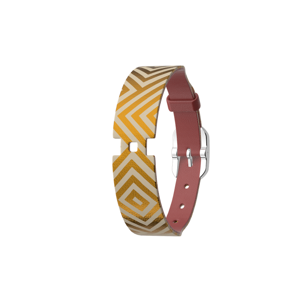 Leather strap Single Wrap Blush / Rubik, Silver finish buckle image number 1
