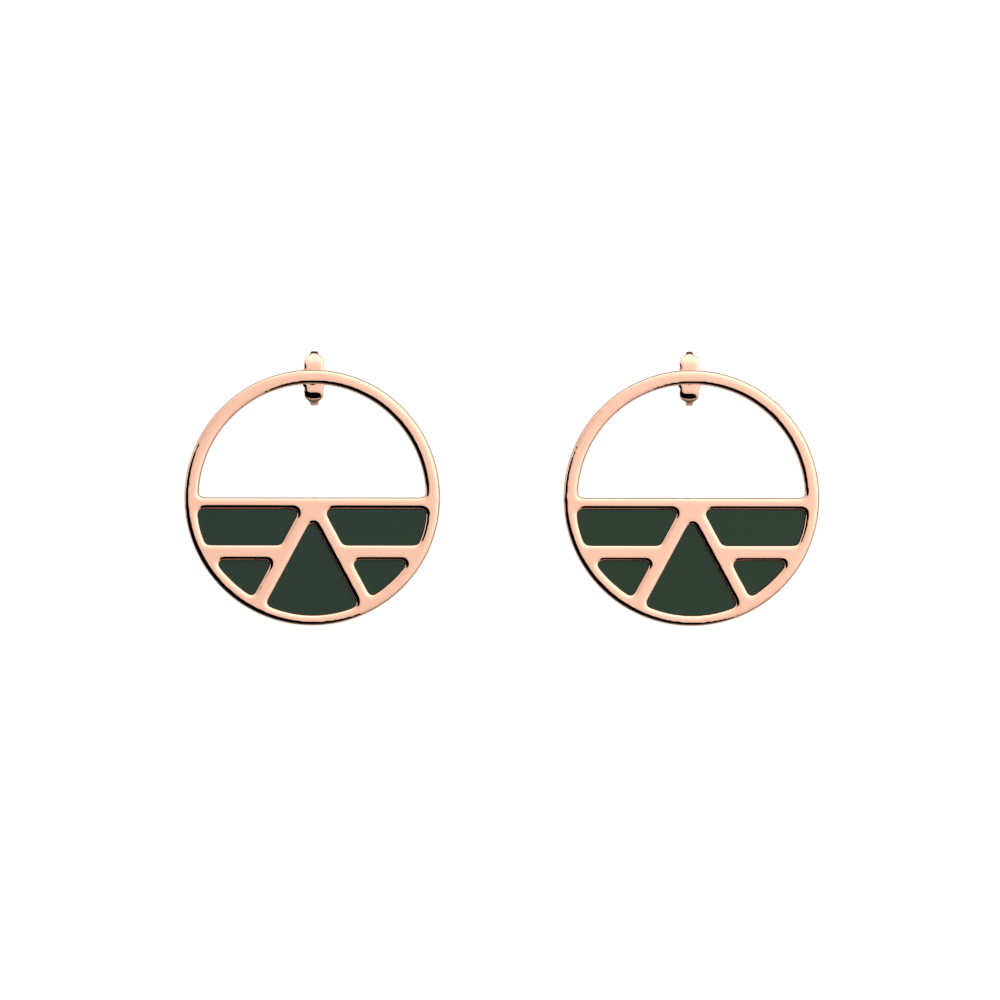 Ibiza Small Small Hoop Earrings, Rose gold finish, Soft Pink / Petrol Green image number 2