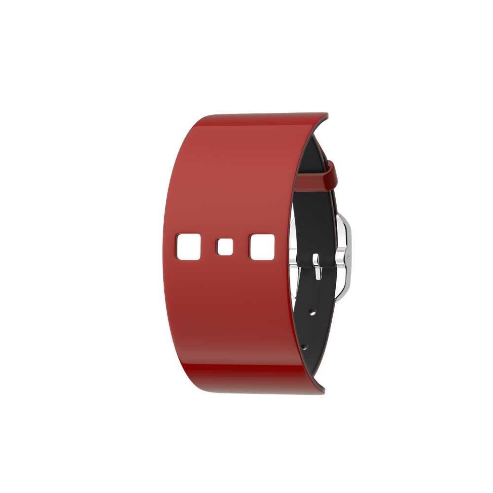 Single Wrap Leather strap Patent Red / Black , Silver finish buckle image number 1