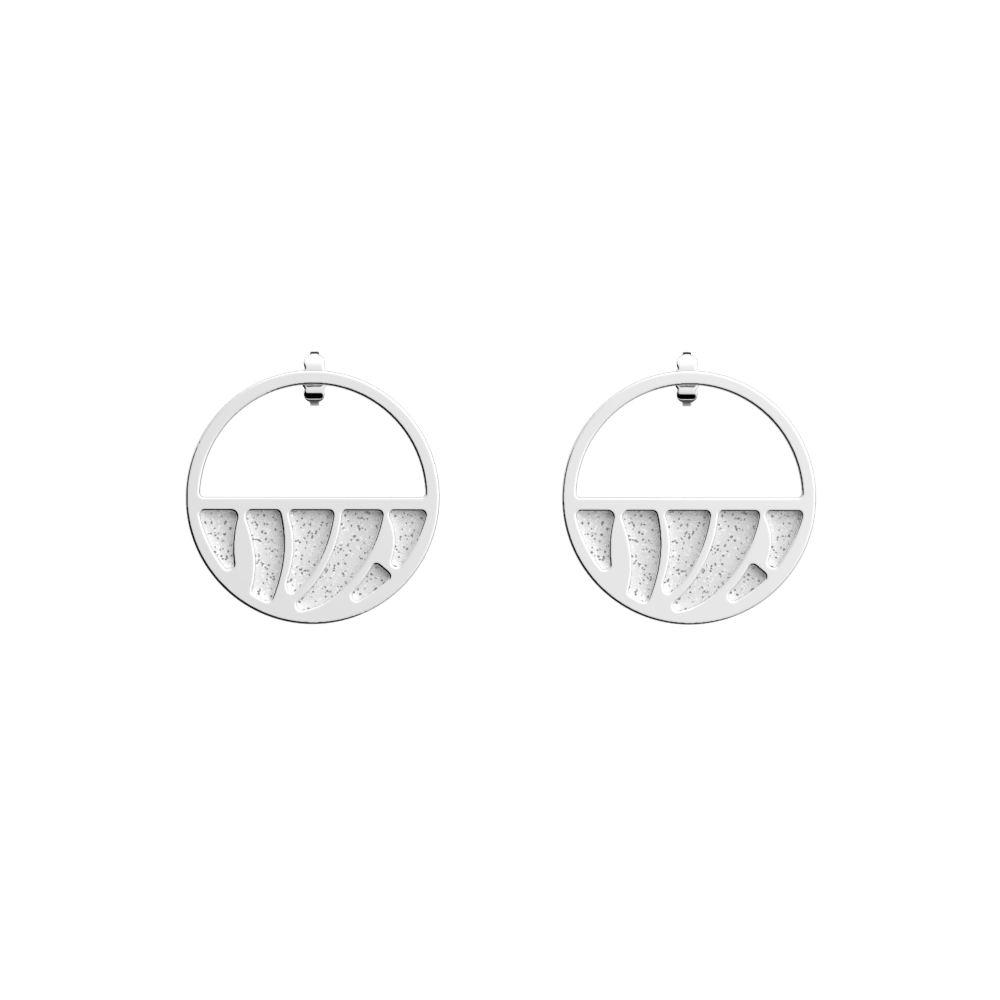 Perroquet Small Small Hoop Earrings, Silver finish, Almond Green / White Glitter image number 2