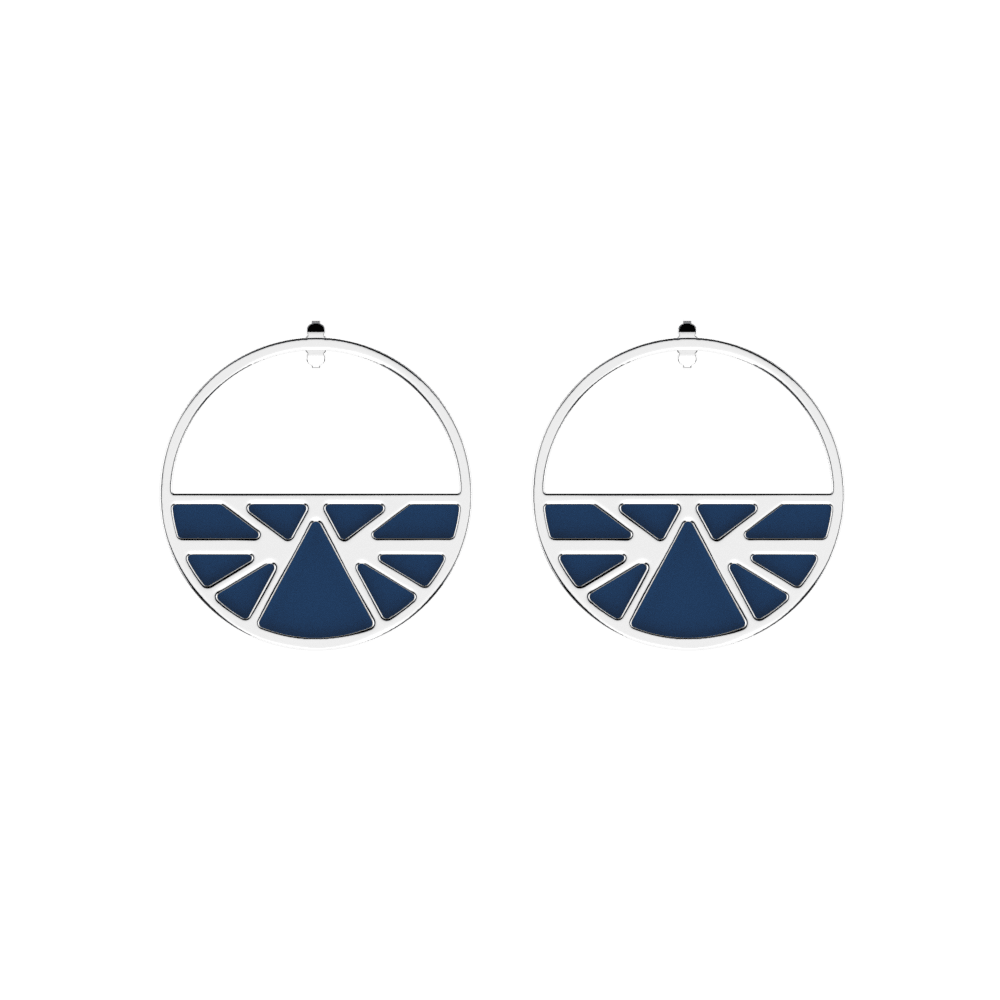 Ibiza Hoop Earrings, Silver finish, Petrol blue / Raspberry image number 1