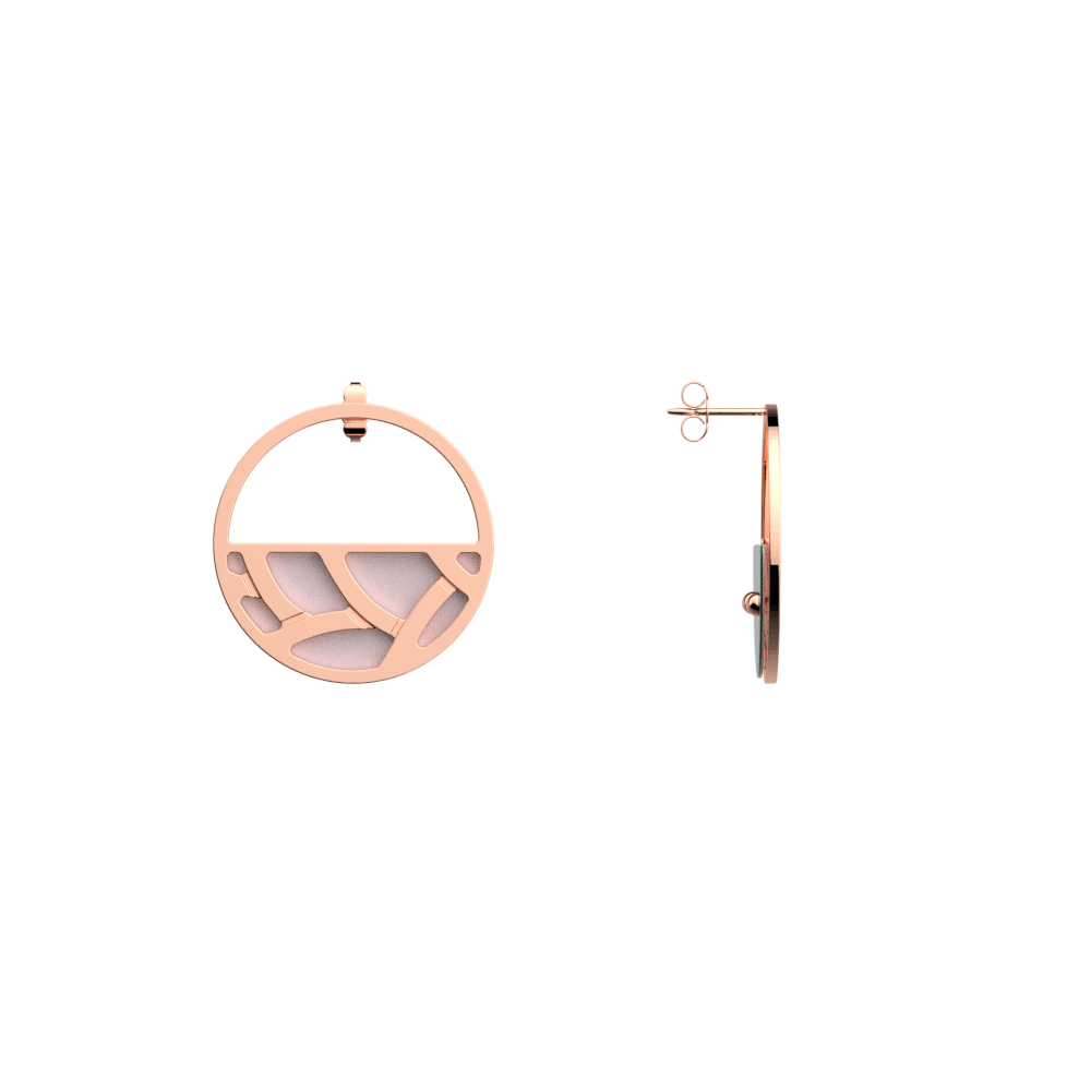 Tresse Small Hoop Earrings, Rose gold finish, Soft Pink / Petrol Green image number 3