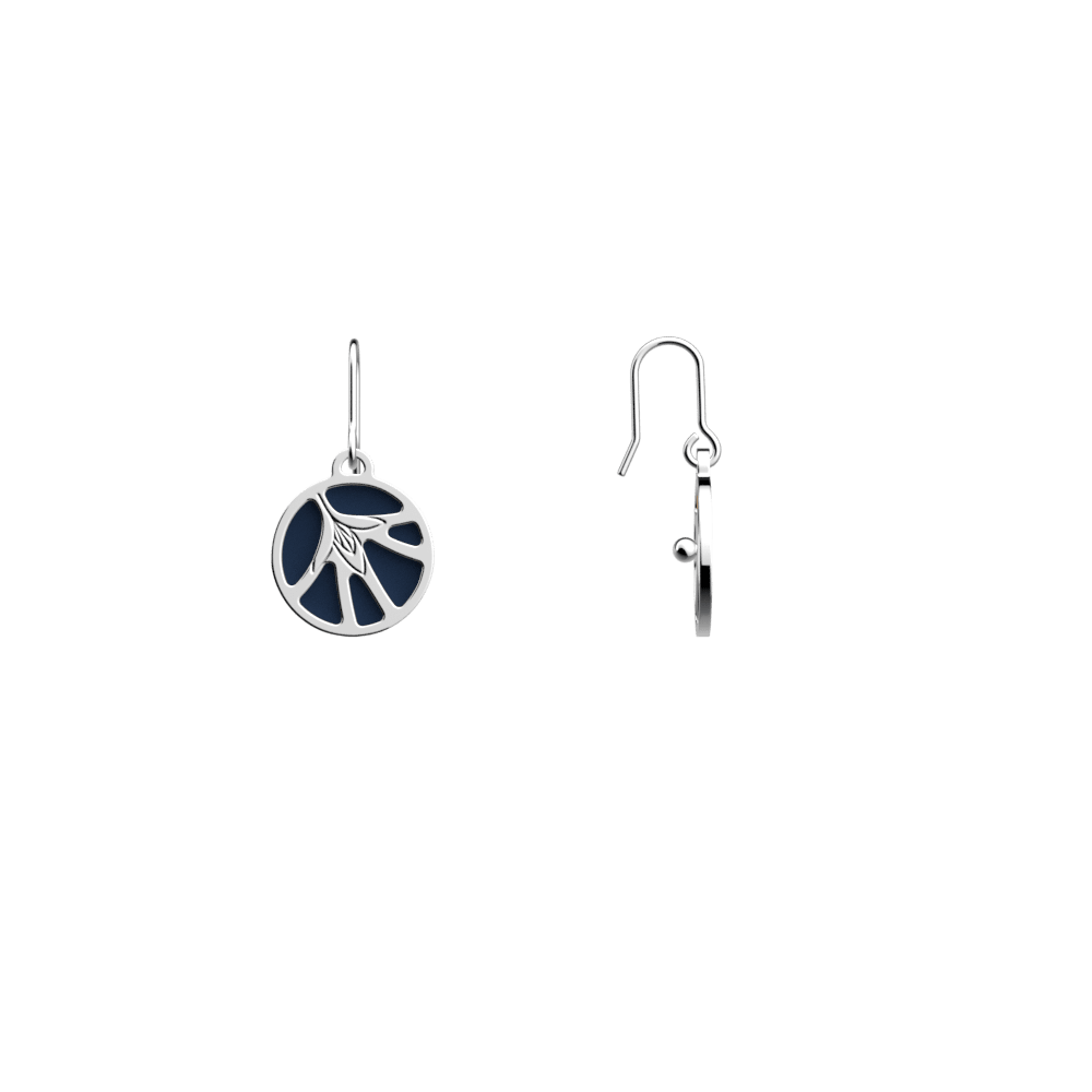 Fleurs du Nil Sleeper Earrings, Silver finish, Sun / Navy Blue image number 4