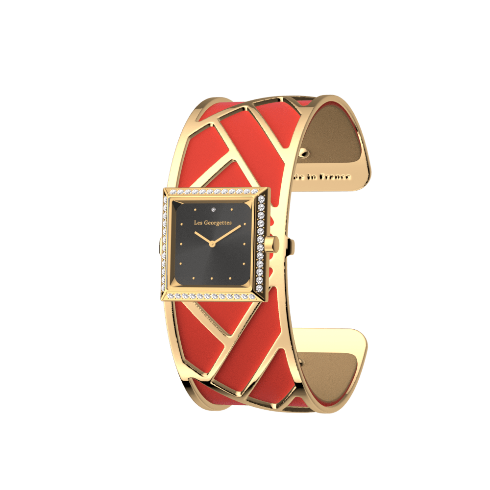 Promenade Watch, Gold finish, Soft Red / Beige image number 2